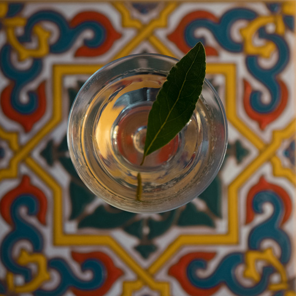 Top down looking at a martini glass with a bay leaf in it. colourful background tile