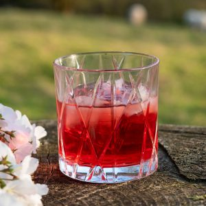 BORA Negroni on a tree stump with cherry blossom